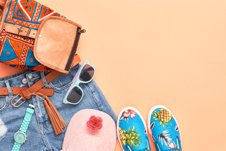 Fashion Design Woman Clothes Accessories Set. Trendy Hipster Denim, fashion Backpack, summer Sunglasses, Stylish Gumshoes. Glamor fashion hipster Watch. Summer Girl. Urban Street Outfit. Art Minimal Zdjęcie Seryjne