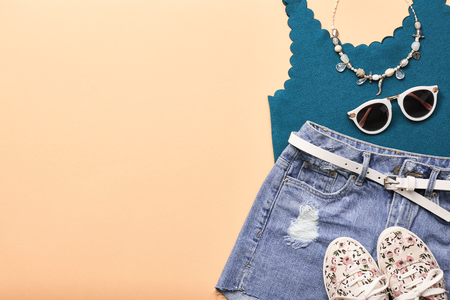 Fashion Design Woman Clothes Accessories Set. Trendy Hipster Denim, fashion summer Sunglasses, Stylish Gumshoes. Glamor fashion hipster Necklace. Summer Girl. Urban Street Outfit. Art Minimal Zdjęcie Seryjne