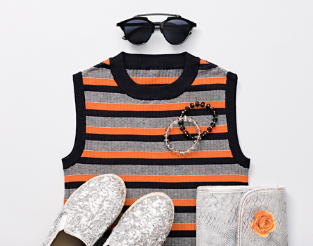 Fashion Design Woman Accessories Set. Trendy Hipster fashion Stripy Dress, Stylish Sunglasses, Handbag Clutch, hipster clothes. Glamor Silver fashion shoes. Luxury Party Lady. Art. Urban Minimal