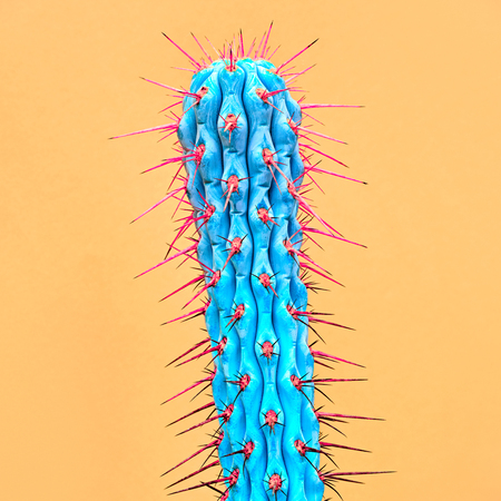 Cactus Neon. Minimal Stillife. Fashion Design. Concept on Yellow background Zdjęcie Seryjne