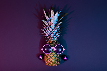 Pineapple Fruit Fashion Hipster. Beach Art Gallery Design.Minimal. Night club.Tropical pineapple with Disco Sunglasses. Hot Summer Glamour Beach Vibes.