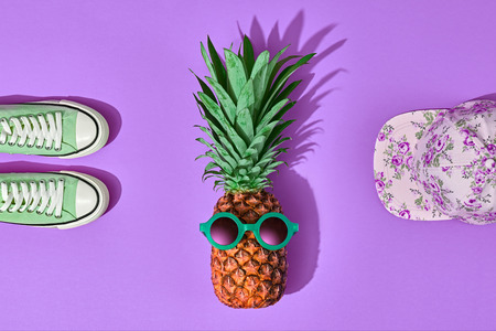 Pineapple Fruit Hipster. Bright Summer Color, Trendy Accessories Set. Tropical pineapple with Sunglasses. Creative Fun Art Style. Party Mood