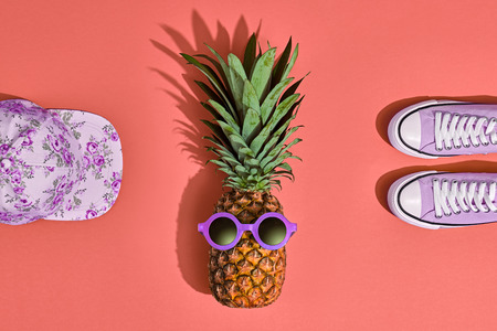 Pineapple Fruit Hipster. Bright Summer Color, Accessories Set. Tropical pineapple with Sunglasses. Creative Fun Art Style. Party Mood