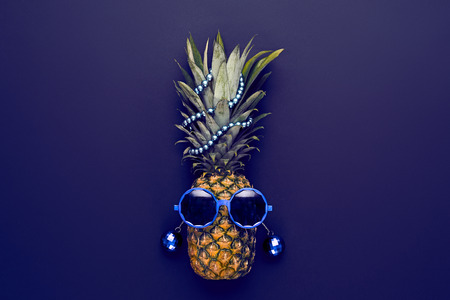 Pineapple Fruit Fashion Hipster. Hot Summer Glamour Beach Vibes. Beach Art Gallery Design.Creative Fun Art Style.Minimal. Summer party Mood, Night club.