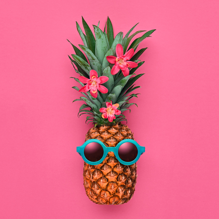 Pineapple Fruit Fashion Hipster. Bright Color, Accessories. Tropical pineapple with Sunglasses. Creative Fun Art Style. Party Mood on Pink