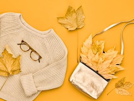 Autumn Arrives. Fashion Lady Clothes Set. Trendy Knit Jumper. Fashion Stylish Handbag Clutch, Vintage Glasses. Fall Leaves.Vanilla Pastel colors.