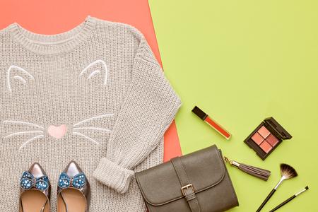 Autumn Arrives. Fashion Lady Clothes Set. Cosmetic. Makeup.Trendy Cozy Knit Jumper. Fashion Stylish Handbag Clutch, Glamour Shoes. Vanilla Pastel colors.