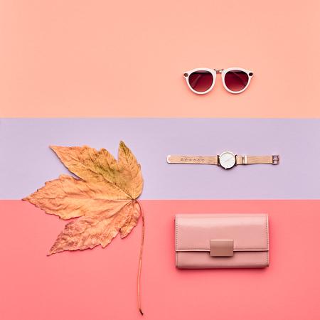 Autumn Arrives. Fall Fashion Glamour Lady Look.Trendy Gold Handbag Clutch. Fashion Stylish Sunglasses, Watches. Vanilla Pastel colors. Autumn Minimal