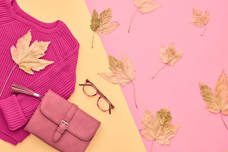 가을 도착. 패션 레이디 옷을 설정합니다. 트렌디 코지 니트 점퍼. 패션 유행 핸드백 클러치, 빈티지 안경. 가가 나뭇잎. 바닐라 파스텔 색상입니다. 스톡 콘텐츠