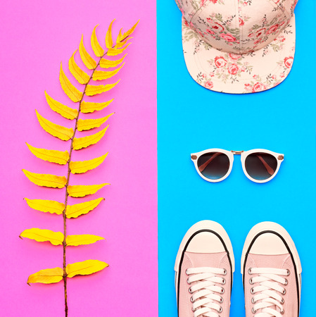 Hipster Girl Accessories Set. Fashion Design Outfit. Yellow Fern Leaf, Trendy Shoes, fashion Cap Sunglasses. Hot Summer Vibes. Creative Bright Sweet Style. Minimal, Art Zdjęcie Seryjne
