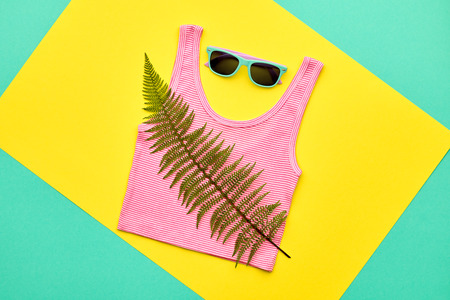Hipster Girl Accessories Set. Minimal. Fashion Design Outfit. Green Fern Leaf, Trendy Sunglasses, fashionable Look. Hot Summer Vibes. Creative Bright Sweet Colorful Style