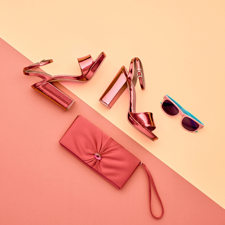 Minimal. Pastel Art Colorful Style. Glamor fashion Metallic Pink shoes Heels. Trendy Sunglasses fashionable Handbag Clutch. Luxury Shiny Party lady. Stok Fotoğraf