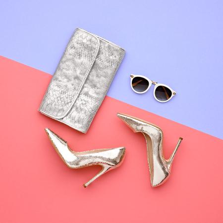 Minimal. Bright Art Creative Style. Glamor fashion shoes Heels. Trendy Sunglasses fashionable Woman Handbag Clutch. Luxury Shiny Party lady.