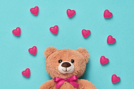 Teddy Bear with Candies Sweets Hearts.