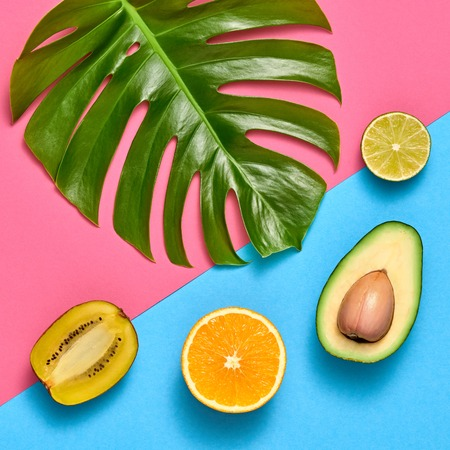 Tropical Palm Leaf and Fresh Fruits. Colorful Summer Trendy Design Set. Fashion concept. Creative Bright summer background, Beach leaf. Minimal art