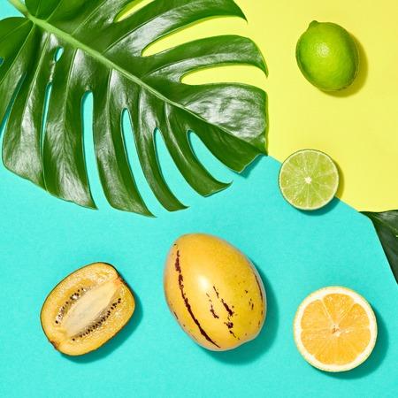 Tropikalny liść palmowy i świeże owoce. Kolorowy letni modny zestaw projektu. Koncepcja mody. Kreatywne lato jasne tło, plaża. Minimalna sztuka