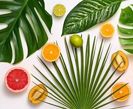 Twórczy układ tropikalny. Liście palmowe i świeże owoce. Zestaw kolorowy lato. Koncepcja zdrowej żywności sztuki. Tło natura jasny lato. Płaskie leżało.