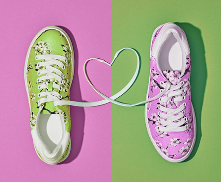 Fashion Trendy Trainers with Heart. Woman Set. Bright Purple Color. Minimal Style. Summer Floral Sneakers. Spring lady. Art Design. Love, Valentines day concept