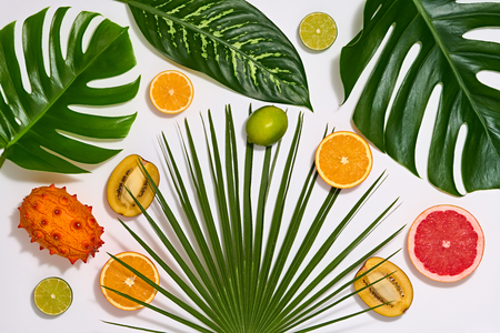 Creative Tropical Layout. Palm Leaves and Fresh Fruits. Colorful Summer Design Set. Healthy Art Food concept. Nature Bright Summer background. Flat lay.