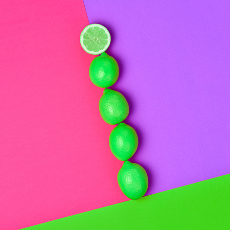 Lemon. Food Organic Vegan Concept. Fresh Citrus fruit. Fashion Summer Set. Hot Sunny Vibes. Creative Bright Pink Green Color. Surreal, Minimal Style. Pop Art Design