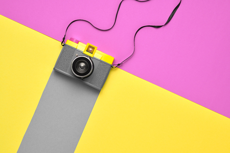 Fashion Film Camera. Hot Summer Vibes. Pop Art. Creative Retro Design. Hipster Trendy Accessories. Sunny Still life. Bright Sweet Style. Minimal Stock Photo - 100245324