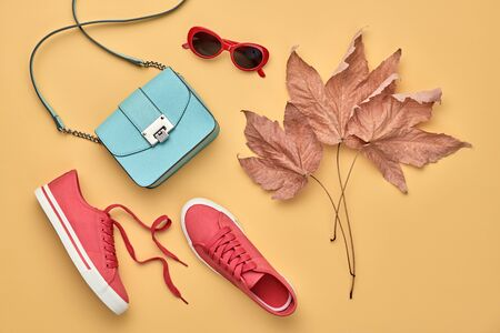 Fall fashion Accessories set. Autumn mood, creative minimal Flat lay. Trendy Sunglasses, Stylish red sneakers, glamour handbag, fashionable look. Autumnal color, shopping concept. Maple Leaf