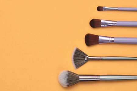 Fashion cosmetic makeup autumn Set. Minimal. Collection beauty accessories on orange background. Trendy Brushes, art fashionable layout. Creative Design Flat lay, make up fall autumnal concept Фото со стока