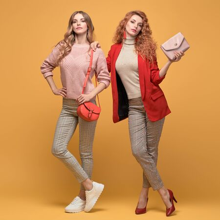 Fashionable autumn woman with stylish hairstyle, makeup dance. Two Shapely blonde redhead girl having fun, trendy red outfit, heels, fashion hair, make up. Excited model, autumnal beauty pink concept Stockfoto