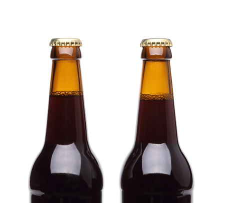 Two bottles of beer on white background. Stock Photo - 20006628