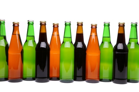 bottlenecks: A lot of different bottlenecks on the white background Stock Photo