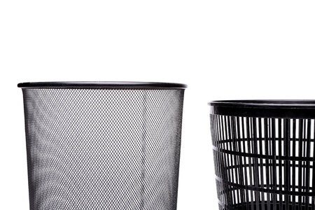 top metal trash can and fragment plastic trash can photo
