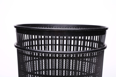 A top plastic trash can close-up photo