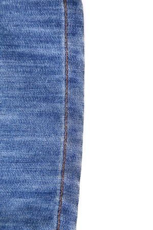 buttom: Wrinkled buttom leg of blue jean on the white background