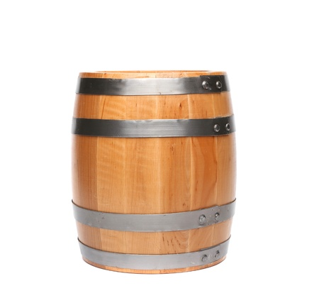 Wood barrel isolated is located on the white background photo