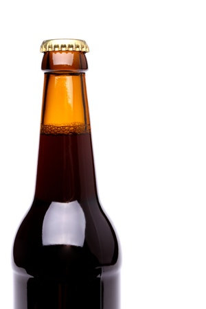 Top one bottle of beer isolated onthe white background photo