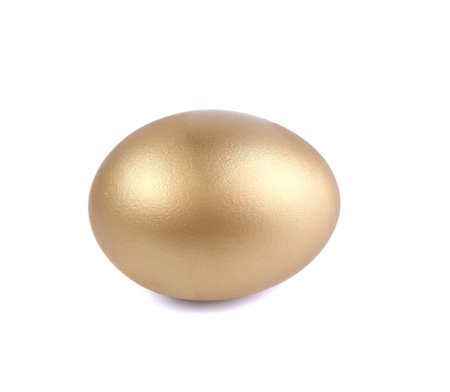 Golden egg, a symbol of making money and successful investment, standing on white background with soft shadow photo
