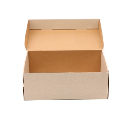 Shoes box is located on the white background photo