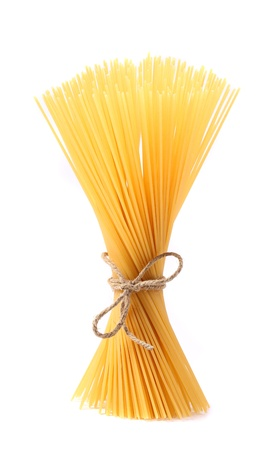dry food: Close up of Spaghetti isolated on white background. Stock Photo