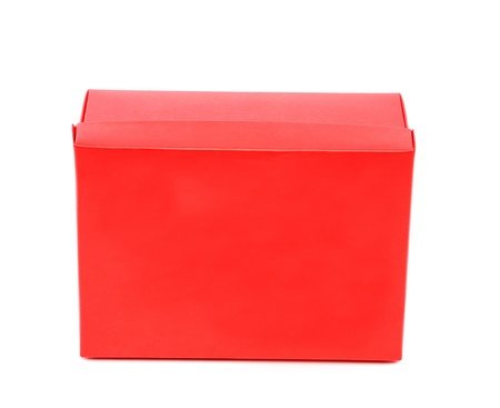 A red shoe box isolated on a white background photo