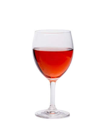 aligote: Glass of pink wine on a white background.