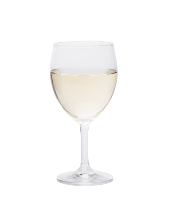 aligote: Glass of white wine on a white background.