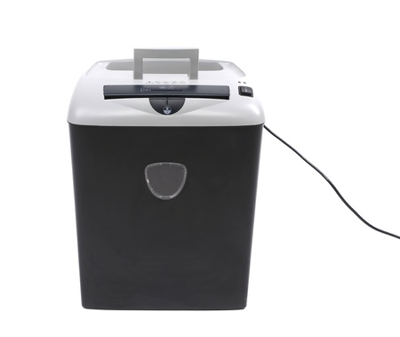 paper shredder isolated on a white background photo