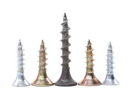 anodized: Tornillos de galvanizado y anodizado sobre un fondo blanco