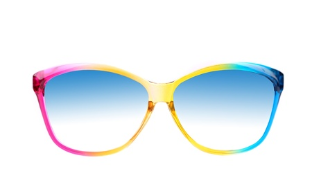 Color sunglasses close-up on a white background photo