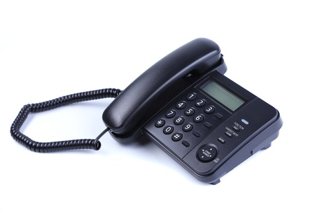 fixed line: One landline phone on a white background