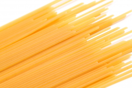 bias: Spaghetti bias on the white background. Close-up.