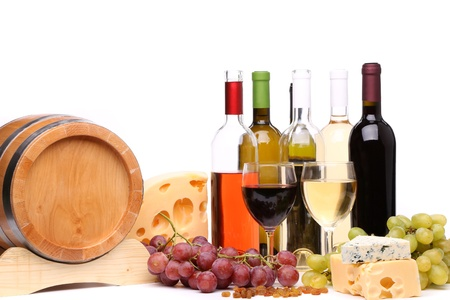 wine composition  barrel, bottle and glasses of wine, cheese, grape photo