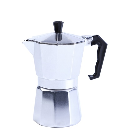 percolator: percolator coffee with the lid closed on a white background Stock Photo