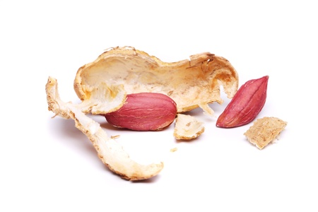 arachis: The peel of peanuts isolated on a white background