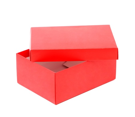 Opend red shoe box isolated on a white background photo